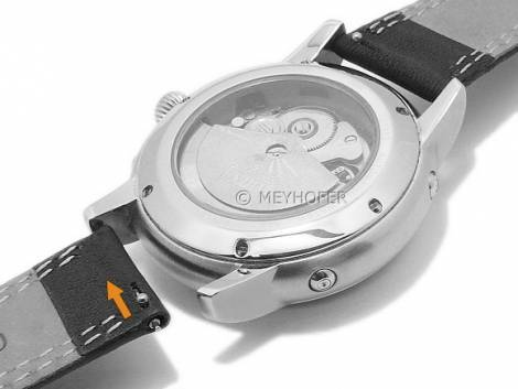 Meyhofer EASY-CLICK watch strap -Keystone- 18mm black leather double stitching with clasp (width of clasp 16 mm) - Bild vergrößern