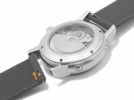 Meyhofer EASY-CLICK watch strap -Fairbury- 20mm black silicone smooth without stitching (width of buckle 20 mm) - Bild vergrößern