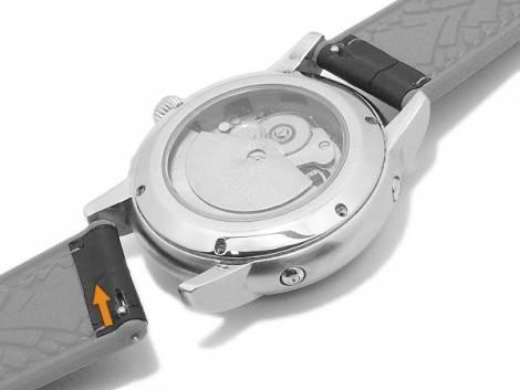 Meyhofer EASY-CLICK watch strap -Heyburn- 24mm black leather/silic. allig. grain white stitched (width of buckle 22 mm) - Bild vergrößern