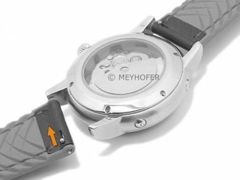 Meyhofer EASY-CLICK watch strap -Ontario- 22mm black leather/silicone smooth red stitching (width of buckle 20 mm) - Bild vergrößern