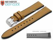 Meyhofer EASY-CLICK watch strap Ontario 24mm light brown leather/silicone smooth stitched (width of buckle 22 mm)