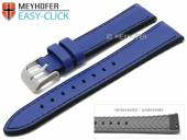 Meyhofer EASY-CLICK watch strap Ontario 20mm blue leather/silicone smooth stitched (width of buckle 18 mm)
