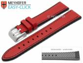 Meyhofer EASY-CLICK watch strap Ontario 24mm red leather/silicone smooth black stitching (width of buckle 22 mm)