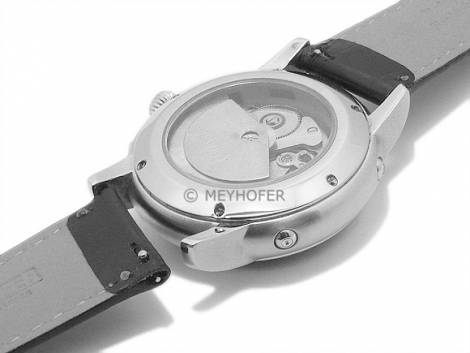 Meyhofer EASY-CLICK watch strap -Lenne- 20mm black leather alligator grain light stitching (width of buckle 18 mm) - Bild vergrößern