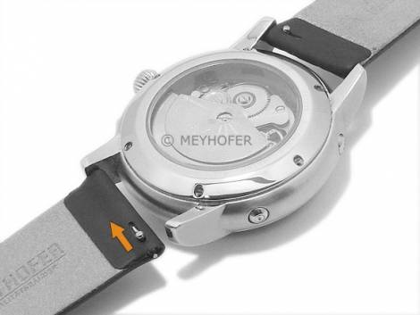 Meyhofer EASY-CLICK watch strap -Mainz- 20mm black leather diamond pattern without stitching (width of buckle 18 mm) - Bild vergrößern