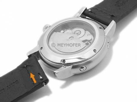 Meyhofer EASY-CLICK watch strap XL -Sequoia- 24mm black leather vintage look light stitching (width of buckle 24 mm) - Bild vergrößern