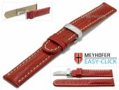 Meyhofer EASY-CLICK watch strap Stratford 24mm red leather teju grain with clasp (width of clasp 22 mm)