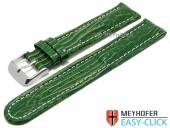 Meyhofer EASY-CLICK watch strap Agudo 20mm green leather teju grain light stitching (width of buckle 20 mm)