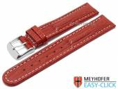 Meyhofer EASY-CLICK watch strap Agudo 24mm red leather teju grain light stitching (width of buckle 22 mm)