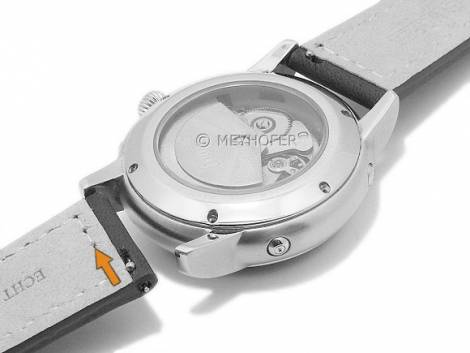 Meyhofer EASY-CLICK watch strap -Antero- 22mm red brown leather aviator look light stitching (width of buckle 20 mm) - Bild vergrößern