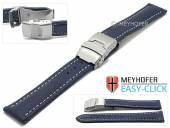 Meyhofer EASY-CLICK watch strap Paonia 24mm dark blue leather smooth light stitching with clasp (width of clasp 22 mm)