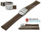 Meyhofer EASY-CLICK watch strap Paonia 20mm dark brown leather smooth light stitched with clasp (width of clasp 18 mm)