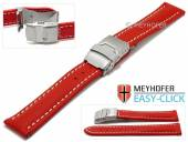 Meyhofer EASY-CLICK watch strap Paonia 24mm red leather smooth light stitching with clasp (width of clasp 22 mm)