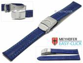 Meyhofer EASY-CLICK watch strap Tomoka 24mm blue leather alligator grain stitched with clasp (width of clasp 22 mm)