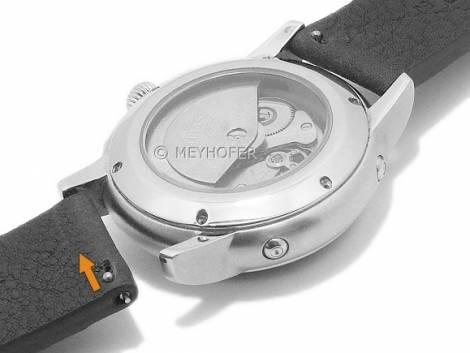Meyhofer EASY-CLICK watch strap -Worland- 22mm black leather grained without stitching (width of buckle 20 mm) - Bild vergrößern