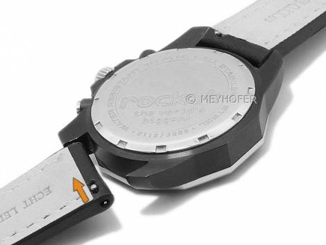 Meyhofer EASY-CLICK watch strap -Carrington- 24mm black leather robust light stitching (width of buckle 22 mm) - Bild vergrößern