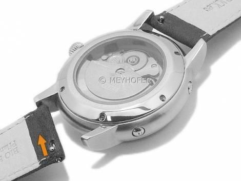 Meyhofer EASY-CLICK watch strap XS -Ecola- 16mm black leather vegetable tanned stitched (width of buckle 14 mm) - Bild vergrößern