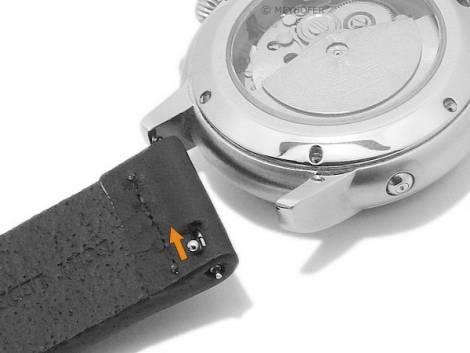 Meyhofer EASY-CLICK watch strap -Wildwood- 24mm grey leather vintage look light stitching (width of buckle 24 mm) - Bild vergrößern