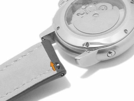 Meyhofer EASY-CLICK watch strap -Frisco- 18mm dark brown leather light stitching (width of buckle 16 mm) - Bild vergrößern