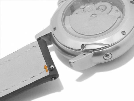 Meyhofer EASY-CLICK watch strap -Rumford- 18mm black leather red stitching (width of buckle 16 mm) - Bild vergrößern