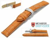 Meyhofer EASY-CLICK watch strap Nizza Special 20mm orange leather black stitching flip clasp (width of clasp 20 mm)