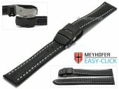 Watch strap Meyhofer EASY-CLICK Liard 24mm black leather carbon look light stitching clasp (width of clasp 22 mm)
