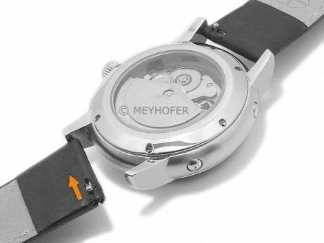 Meyhofer EASY-CLICK watch strap -Maribor Special- 16mm black leather smooth green stitching (width of buckle 14 mm) - Bild vergrößern