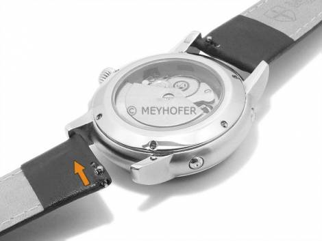 Meyhofer EASY-CLICK watch strap -Izola- 22mm light brown leather smooth black stitching (width of buckle 20 mm) - Bild vergrößern
