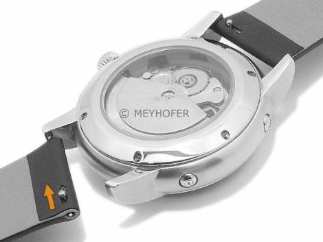 Meyhofer EASY-CLICK watch strap -Gargano- 20mm black leather smooth without stitching (width of buckle 16 mm) - Bild vergrößern