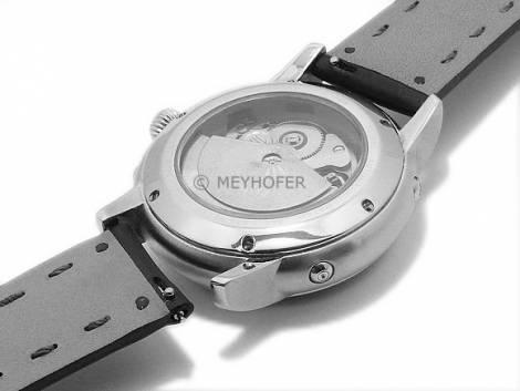 Meyhofer EASY-CLICK watch strap -Glacier- 20mm black leather grained matt stitched (width of buckle 18 mm) - Bild vergrößern