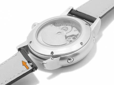 Meyhofer EASY-CLICK watch strap -Ferndale- 20mm black leather grained light stitching (width of buckle 16 mm) - Bild vergrößern