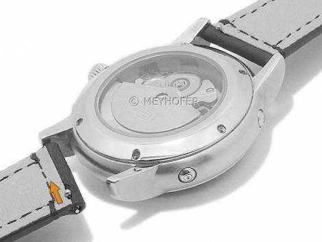 Meyhofer EASY-CLICK watch strap -Trussville- 20mm black leather grained stitched (width of buckle 16 mm) - Bild vergrößern