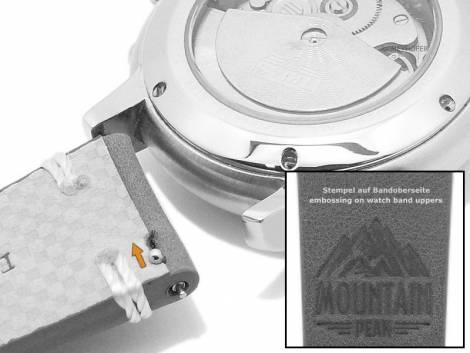 Meyhofer EASY-CLICK watch strap -Portland - Motif Mountain- 20mm black leather light stitching (width of buckle 18 mm) - Bild vergrößern