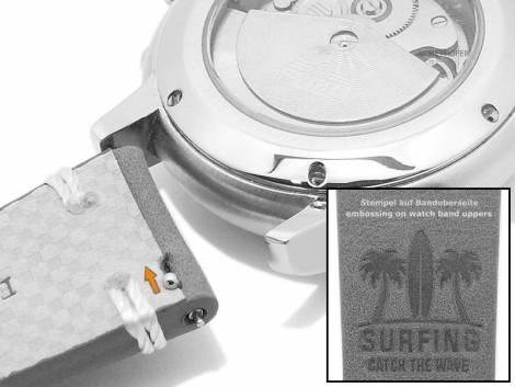 Meyhofer EASY-CLICK watch strap -Portland - Motif Surfing- 22mm blue leather light stitching (width of buckle 20 mm) - Bild vergrößern
