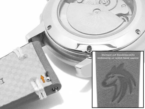 Meyhofer EASY-CLICK watch strap -Portland - Motif Wolf- 20mm black leather light stitching (width of buckle 18 mm) - Bild vergrößern