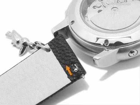Meyhofer EASY-CLICK watch strap -Zermatt - Charm Toucan- 20mm light grey goat leather grained (width of buckle 20 mm) - Bild vergrößern