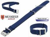 Watch strap Prattville 22mm blue perlon/textile NATO look one piece strap by MEYHOFER