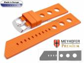 Watch strap Baracoa 24mm orange caoutchouc racing look by MEYHOFER (width of buckle 22 mm)