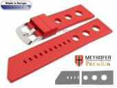 Watch strap Baracoa 24mm red caoutchouc racing look by MEYHOFER (width of buckle 22 mm)