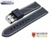 Watch strap Calgary Sport 20mm dark blue caoutchouc smooth Light double stitching by MEYHOFER (width of buckle 18 mm)