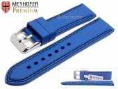 Watch strap Calgary 22mm royal blue caoutchouc smooth black double stitching by MEYHOFER (width of buckle 20 mm)