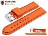 Watch strap Calgary 22mm orange caoutchouc smooth black double stitching by MEYHOFER (width of buckle 20 mm)