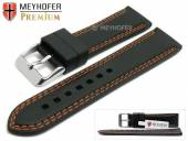 Watch strap Calgary 22mm black caoutchouc smooth orange double stitching by MEYHOFER (width of buckle 20 mm)