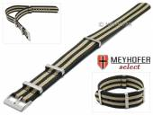 Watch strap Aurich 20mm black nylon/textile NATO look one piece strap with beige stripes by MEYHOFER