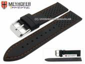 Watch strap Veteli 24mm black silicone racing look orange stitching by MEYHOFER (width of buckle 22 mm)