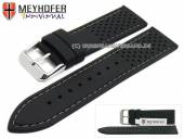 Watch strap Veteli 24mm black silicone racing look grey stitching by MEYHOFER (width of buckle 22 mm)