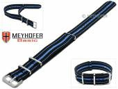 MEYHOFER Basic watch strap Abilene 22mm black synthtic/textile blue stripes 3 metal loops one-piece strap