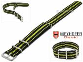 MEYHOFER Basic watch strap Abilene 22mm black synthtic/textile yellow stripes 3 metal loops one-piece strap