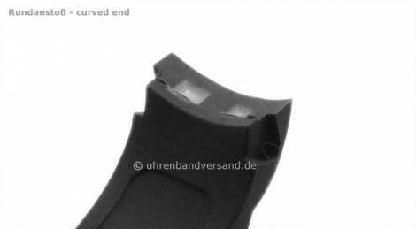 Watch strap -Leeds- 22mm dark blue silicone waterproof matt with curved ends by MEYHOFER (width of buckle 20 mm) - Bild vergrößern