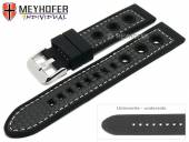 Watch strap Tulsa 24mm black silicone carbon optics racing look light stitching by MEYHOFER (width of buckle 22 mm)